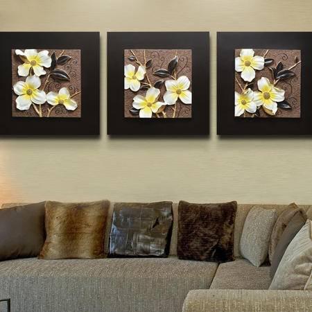 欧象 浮雕画(缤纷)客厅装饰画 现代沙发背景墙三联画 3D无框画壁画挂画