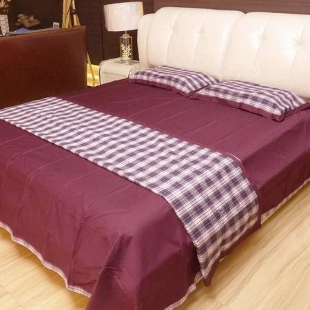 嘉加梦 色织格四件套220*240 床品套件婚庆用品被套床单枕套春秋冬季 舒适家纺包邮