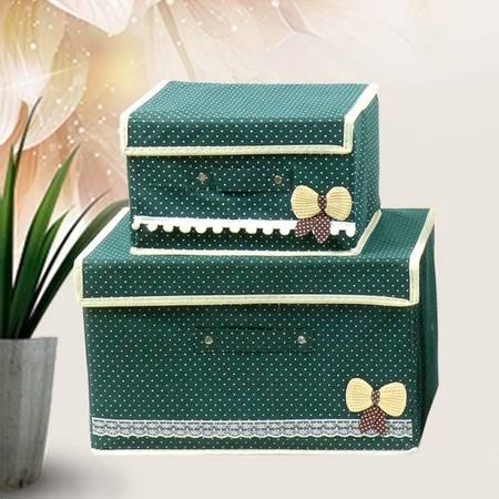 【仅限新乡地区销售】WA蝴蝶箱 韩式新款无纺布折叠有盖波点蝴蝶结可爱萌收纳箱盒 套盒1大1小
