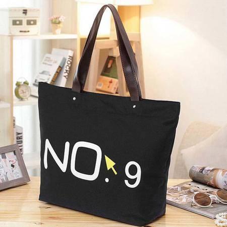 【仅限新乡地区销售】日韩复古数字字母NO.9帆布大包 黑色 单肩手提包购物袋女包  大号