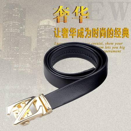 世纪风进口PU自动扣皮带高档爆款商务男士腰带捷豹字母两种时尚花型可选125cm