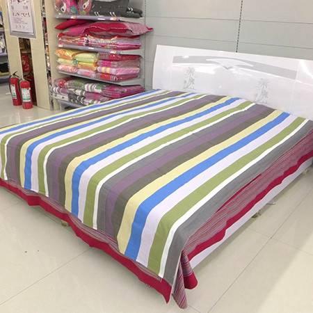 锦绣精纺粗布大床单(宽*长)2.0*2.2米   纯棉老粗布床单全棉双人床单 条纹田园亮色