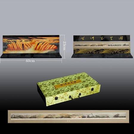 《黄河》平遥推光漆器摆件 内含黄河长卷版票1张+推光漆器摆件 真品现货 收藏馈赠 文化礼品