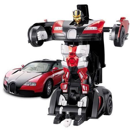 凌盛布加迪电子变形车 888-1 可充电 配遥控 机器人汽车模型 男童益智玩具