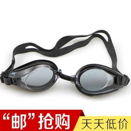 HAIPAI游泳眼镜 内赠防水硅胶耳塞一副 高清平光透明舒适防水 男女通用泳镜  颜色随机