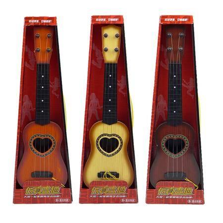 杰诚玩具高仿真吉他8808 颜色随机 四弦儿童玩具乐器 早教琴迷你乐器