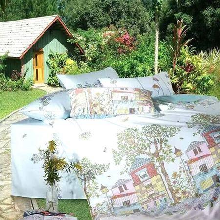 【仅限新乡地区销售】圣路易丝柔丝缎馨悦乐园四件套220*240 双人床单被罩枕套 全棉床上用品 柔软