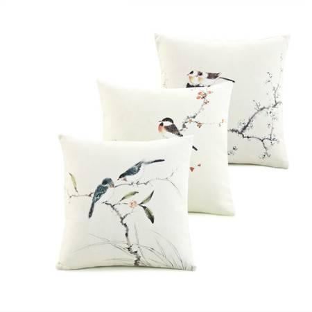 宜家居中式花鸟系列靠垫 45*45cm 颜色随机 中国风抱枕靠枕靠垫腰枕 环保印刷色彩丰富