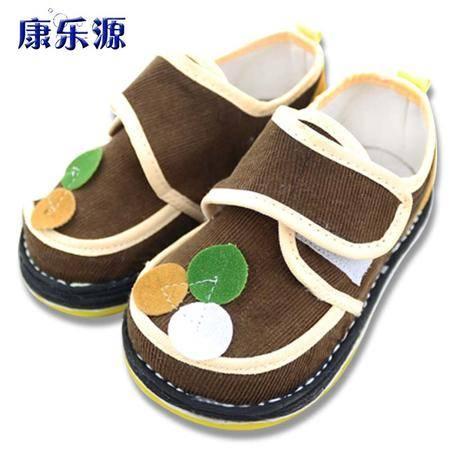 康乐源 儿童手工布鞋男童吸汗透气宝宝鞋千层底防滑手工婴儿学步鞋 三点咖啡37P15