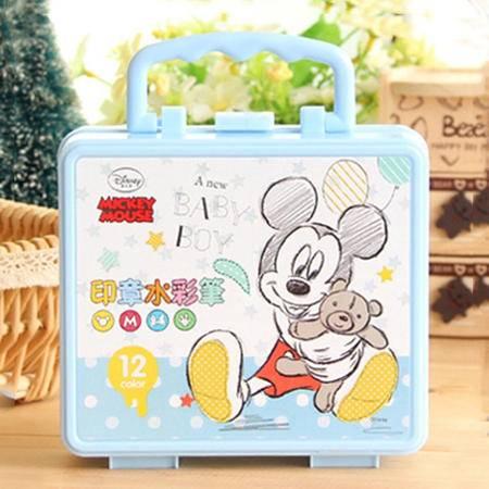 联众迪士尼12色儿童带印章水彩笔幼儿手提彩笔套装绘画涂鸦笔D01212+联众迪士尼益智彩色折纸D01