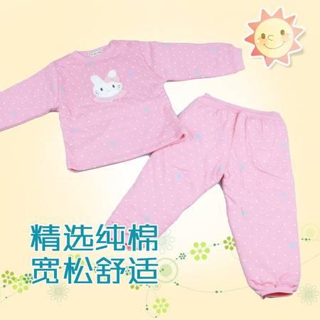 小蚂蚁Z0657-1刺绣贴布圆领套头南极棉加厚女童内衣套装 柔软舒适 吸湿排汗