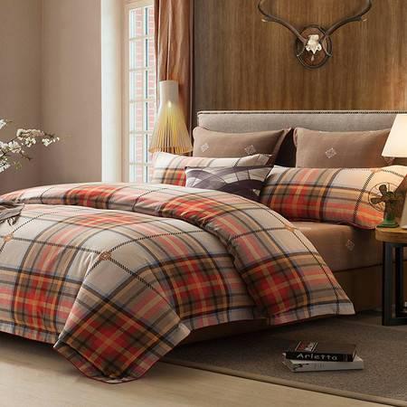 生活秀家纺 纯棉阳绒超值四件套全棉加厚磨毛保暖1.8m床冬简约床上用品