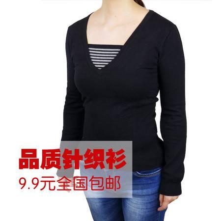 辉杰V领贴角套衫80503 秋款外搭韩版修身显瘦包邮均码