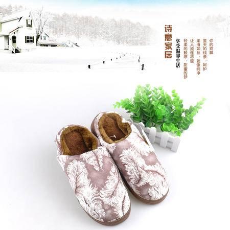 Product name冬季新款中国风羽毛印花男女家居拖鞋加厚加绒厚底拖鞋棉拖1616