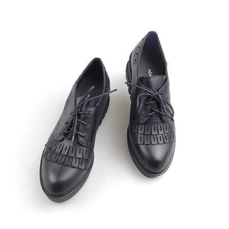 夏梦女士时尚流苏休闲皮鞋厚底粗跟系带牛皮鞋工作鞋柔软舒适3268