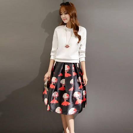JEANE-SUNP2016新款秋装时尚套装淑女圆领长袖上衣+印花中长裙两件套