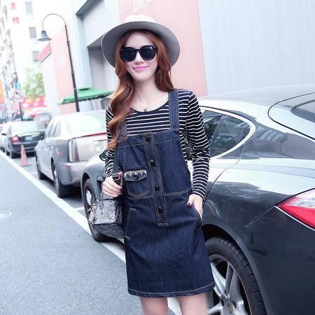 JEANE-SUNP2016早秋新款韩版宽松条纹长袖T恤学院风两件套连衣裙