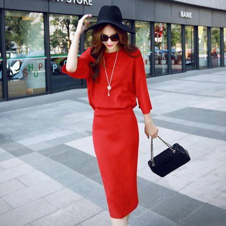 JEANE-SUNP秋装新款女韩版两件套修身套装裙春秋中长款时尚显瘦针织连衣裙潮