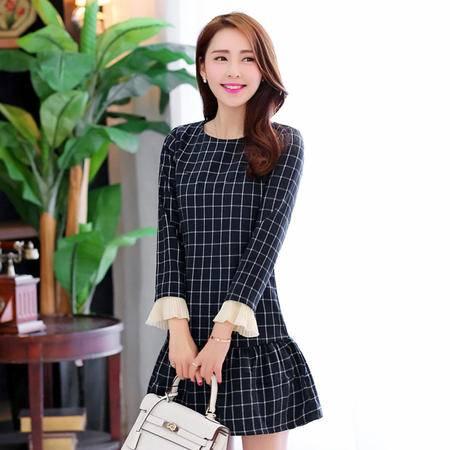 JEANE-SUNP2016新款长袖连衣裙 春季时尚韩版圆领格子印花长袖连衣裙 潮