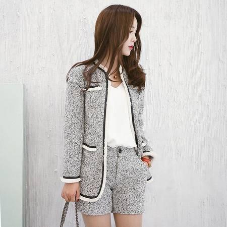 JEANE-SUNP外套秋冬女潮韩版显瘦短款毛呢外套芝麻呢套裤时尚名媛两件套套装
