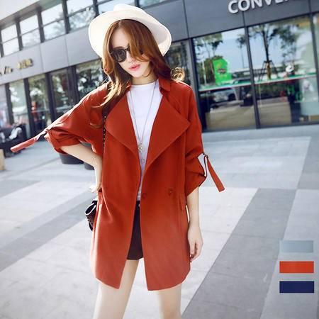 JEANE-SUNP2016秋装韩版薄款大码宽松显瘦大翻领中长款纯色长袖外套潮