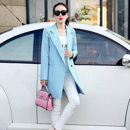 JEANE-SUNP2016新款秋装韩版女装气质一粒扣中长款修身显瘦外套女式风衣热卖