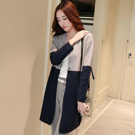 JEANE-SUNP2016秋季新品女装韩版宽松长袖拼接撞色毛衣外套针织衫开衫中长款