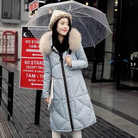 JEANE-SUNP2016冬季新款韩版修身过膝长款连帽奢华大貉子毛领加厚羽绒服外套