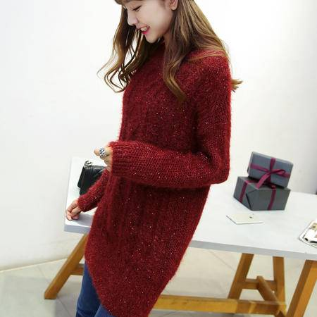 JEANE-SUNP2016秋冬新款时尚女装韩版修身圆领中长款百搭显瘦打底针织毛衣潮