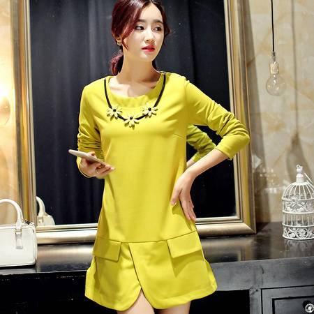 JEANE-SUNP2016秋季新款女装 韩版通勒时尚拼接修身甜美气质淑女连衣裙