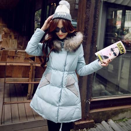 JEANE-SUNP2016冬装新款女式棉衣抽绳中长款真毛大毛领休闲羽绒棉服潮