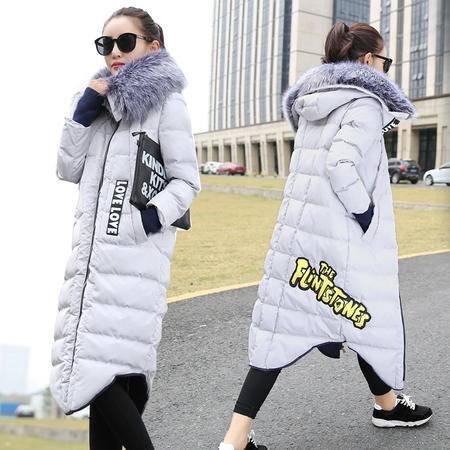 JEANE-SUNP2016冬装欧货棉衣过膝长款韩版加厚字母羽绒棉服大衣外套女