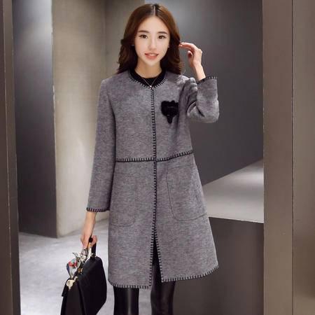 JEANE-SUNP冬装新款韩版羊毛呢子大衣女装大码休闲圆领暗扣毛呢外套女中长款