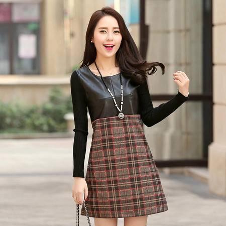 JEANE-SUNP2016新款冬装打底连衣裙针织拼接皮质尼料加厚韩版连衣裙