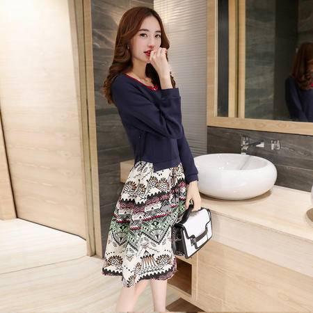 JEANE-SUNP2016秋冬季新款女装韩版修身针织套装裙中长款两件套连衣裙女 印花