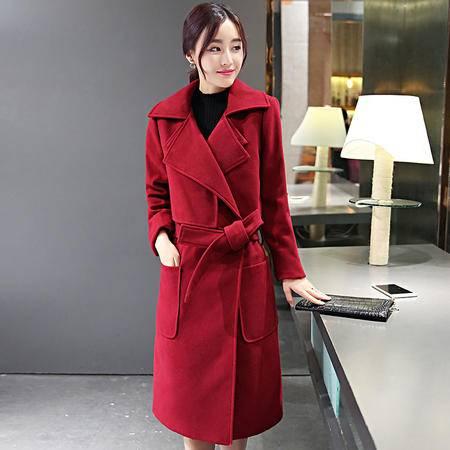 JEANE-SUNP2016冬装新款毛呢休闲韩版大衣外套长袖大牌显瘦系带中长款女潮