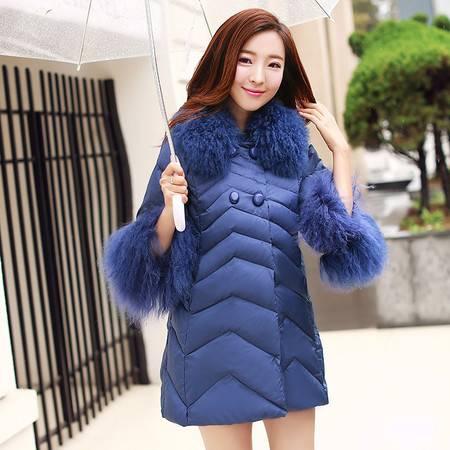 JEANE-SUNP2016冬装韩版修身加厚羽绒服滩羊毛领中长款七分袖羽绒衣女外套潮