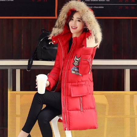 JEANE-SUNP2016冬季新款棉服中长款女修身大毛领韩版加厚棉袄羽绒棉服外套