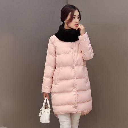 JEANE-SUNP2016冬装新款女装外套棉服女中长款韩版棉衣女修身围脖加厚棉袄女