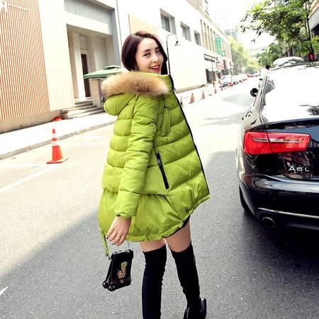 JEANE-SUNP大毛领连帽棉衣女中长款修身棉服秋冬新款韩国加厚棉袄外套冬
