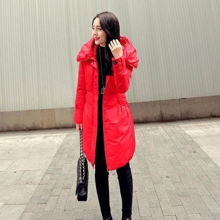 JEANE-SUNP冬修身显瘦羽绒服女拉链双层领羽绒衣韩版中长款羽绒棉衣连帽外套