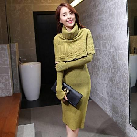 JEANE-SUNP2016秋冬新款韩版修身女装连衣裙中长款毛衣打底裙休闲两穿长裙