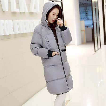 JEANE-SUNP2016冬装新款大码休闲棉衣女韩版长款过膝加厚保暖连帽棉服棉袄潮