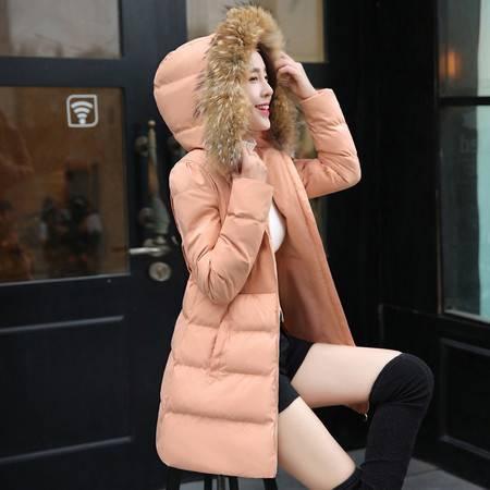 JEANE-SUNP2016冬装韩版棉衣女中长款加厚修身棉袄连帽真大毛领棉服外套女装