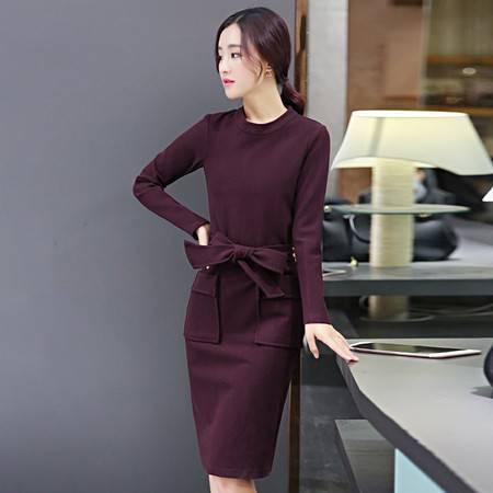 JEANE-SUNP长袖针织连衣裙秋装新款韩版修身OL气质打底裙中裙一步裙子潮