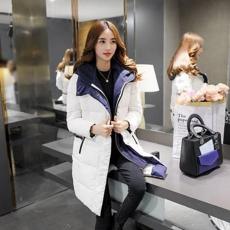JEANE-SUNP2016冬装新款女装 韩版棉衣外套中长款纯色带帽保暖棉服休闲时尚