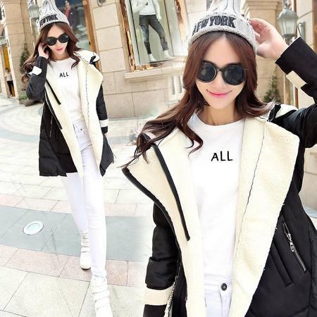 JEANE-SUNP2016新款韩版修身保暖鹿皮羊羔绒羽绒服中长款连帽羽绒棉服外套女