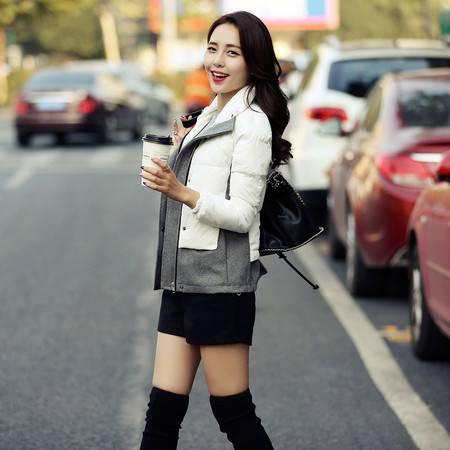 JEANE-SUNP2016冬新款棉衣女短款韩版修身加厚短款羽绒棉服拼接气质小棉袄潮