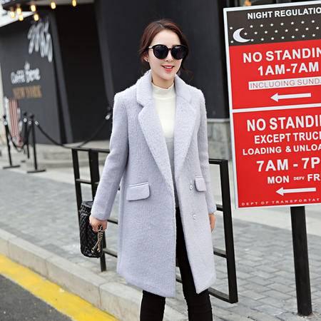 JEANE-SUNP2016冬装新款韩版气质中长款毛呢外套厚修身显瘦茧型呢子大衣女潮
