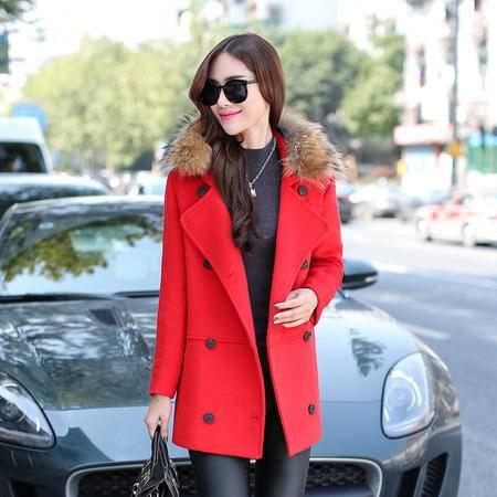 JEANE-SUNP2016冬装新款女装韩版修身中长款羊毛呢子大衣真貉子毛领呢外套女